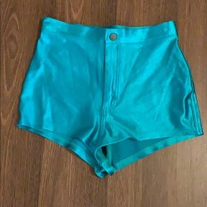 American Apparel Peacock Green Shiny Disco Shorts